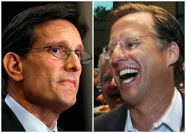 In this combination of Associated Press photos, House Majority Leader Eric Cantor, R-Va., left, and Dave Brat, right, react after the polls close Tuesday, June 10, 2014, in Richmond, Va. Brat defeated Cantor in the Republican primary.