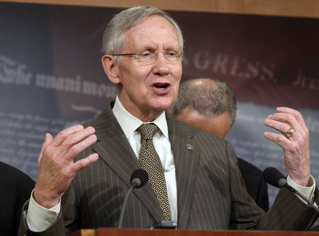 Senate Majority Leader Harry Reid of Nevada speaks to reporters on student loan legislation and the defeat of House Majority Leader Eric Cantor, Wednesday, June 11, 2014, during a news conference  on Capitol Hill in Washington.