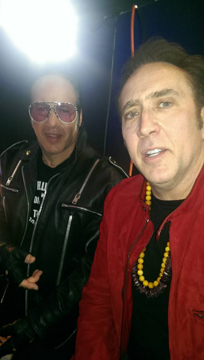 Andrew Dice Clay, left, and Nicolas Cage in a photo from the Revolver Golden Gods Awards at Nokia Theater in Los Angeles.