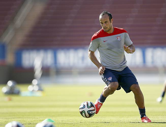 United States' Landon Donovan controls the ball during a training session on Wednesday, May 14, 2014, Stanford, Calif., in preparation for the World Cup tournament.