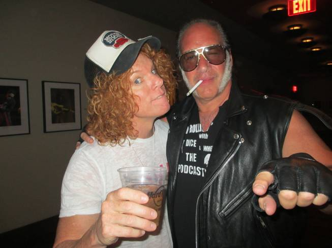 Carrot Top, left, and Andrew Dice Clay backstage at the Guns N' Roses concert on Saturday, June 7, at the Joint at the Hard Rock Hotel.