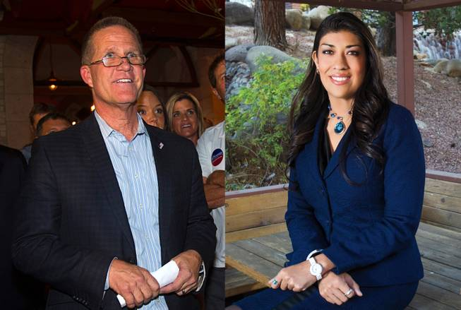 Republican Mark Hutchison and Democrat Lucy Flores will face off in the lieutenant governor's race in the general election in November 2014.