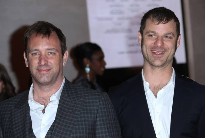 """The Book of Mormon"" creators Trey Parker and Matt Stone arrive for the opening night of ""The Book of Mormon"" at Prince of Wales Theater in London, England, on Thursday, March 21, 2013."