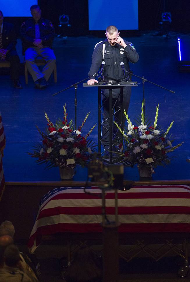Robert Soldo, the older brother of Metro Police officer Igor Soldo, speaks at his brother's funeral at Canyon Ridge Church Thursday, June 12, 2014. Igor Soldo and Metro Police Officer Alyn Beck where ambushed and killed by Jerad and Amanda Miller while eating lunch on Sunday, June 8.