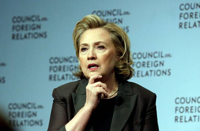 "Hillary Clinton participates in a conversation about her career in government and her new book, ""Hard Choices,"" at the Council on Foreign Relations, in New York, Thursday, June 12, 2014."