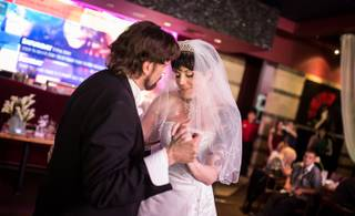 The wedding of The Amazing Johnathan and Anastasia Synn at A Special Memory Chapel, with reception at Geisha House, in Las Vegas.