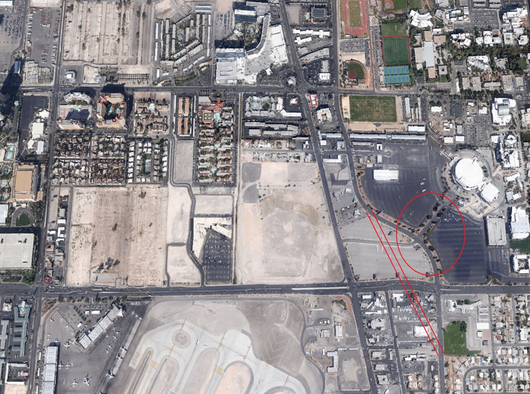 UNLV is considering an alternative location for the football stadium southwest of the Thomas & Mack Center in an area that currently serves as the basketball arena's parking lot.