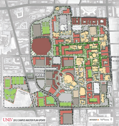 Before concerns arose from the Federal Aviation Administration, UNLV had planned to build the stadium northeast of Swenson Street and Harmon Avenue.