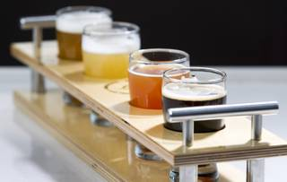 A sampler of beers at Banger Brewing in downtown Las Vegas Monday, May 12, 2014.