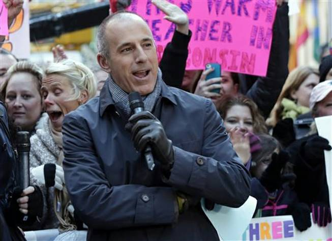 "In this 2013 photo, Matt Lauer, co-host of NBC's ""Today,"" appears in New York's Rockefeller Center. NBC said Friday, June 13, 2014, that Lauer has agreed to a contract extension for multiple years, although it would not specify how long. Lauer's future with the show, which is currently second behind ABC's ""Good Morning America"" in the ratings, was the biggest question hanging over the news division."