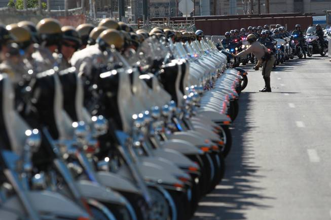 Metro and Nevada Highway Patrol motorcycles line up before a memorial service for Metro officer Alyn Beck Saturday, June 14, 2014 at the Smith Center.