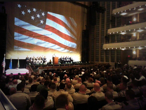 Services get under way for Metro Police Officer Alyn Beck at the Smith Center for the Performing Arts on Saturday, June 14, 2014. Beck was one of two Metro officers killed in an ambush on Sunday, June 8, as they ate lunch.