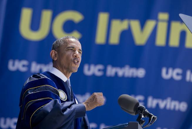 President Barack Obama delivers his commencement address to the graduates of University of California, Irvine, at Angel Stadium in Anaheim, Calif., Saturday, June 14, 2014.