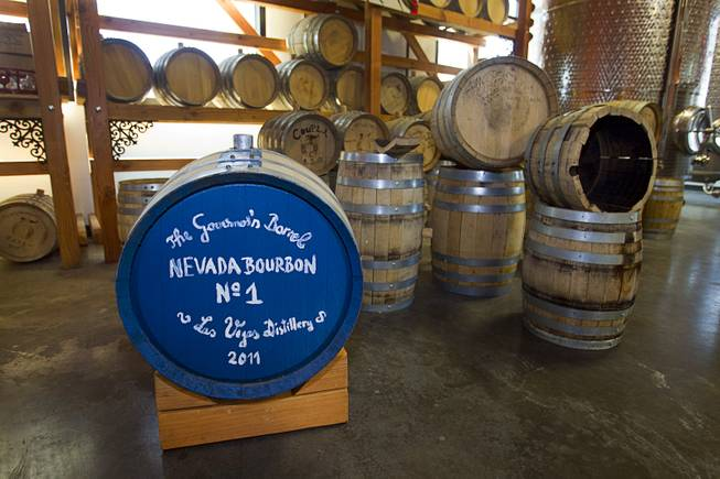"Whiskey barrels are shown during ""Bourbon Day"" at the Las Vegas Distillery in Henderson Saturday, June 14, 2014. The ""Nevada 150"" bourbon whiskey, the first bourbon produced in Nevada, is named for Nevada's sesquicentennial."