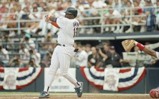 San Diego Padres Tony Gwynn, shown batting during the All-Star game, July 14, 1992. in San Diego, Ca.