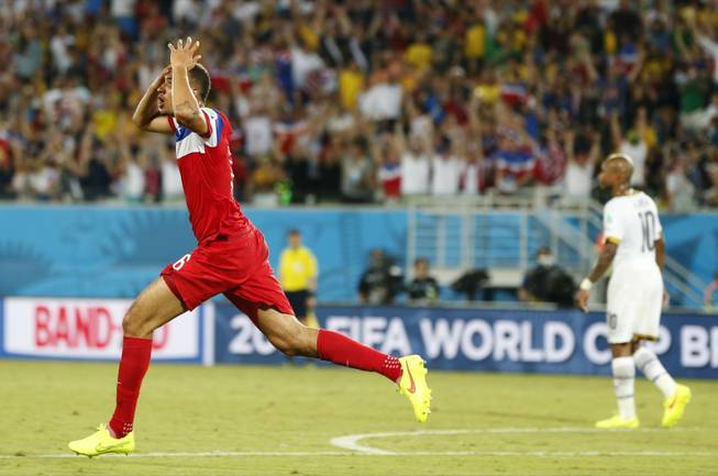United States' John Brooks reacts after scoring his side's second goal during the group G World Cup soccer match between Ghana and the United States at the Arena das Dunas in Natal, Brazil, Monday, June 16, 2014.