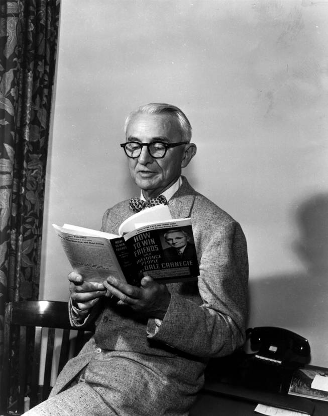 "Dale Carnegie, author of ""How to win Friends and Influence People,"" in 1955. Carnegie attended the National Convention of the Sale Carnegie Institute of Effective Speaking and Human Relations, which was attended by 150 representatives who operate Carnegie public speaking classes throughout the world. It was one of his few public appearances."