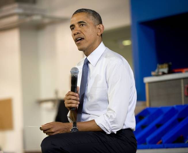 President Barack Obama speaks about the capture of Libyan militant suspected of killing Americans in Benghazi, during his visit to TechShop in Pittsburgh, Pa., Tuesday, June 17, 2014.