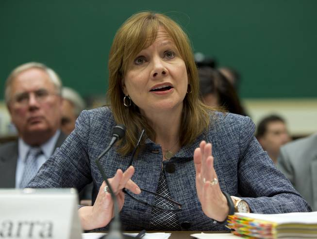 In this April 1, 2014, file photo, General Motors CEO Mary Barra testifies before the House Energy and Commerce subcommittee on Oversight and Investigation on Capitol Hill in Washington.