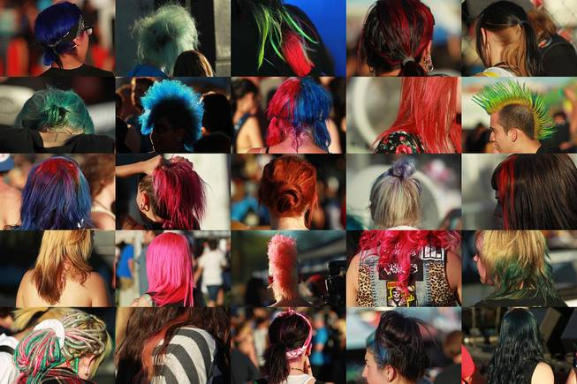 A compilation of photos of various forms of dyed hair seen during the Las Vegas stop of the Vans Warped Tour Thursday, June 19, 2014.