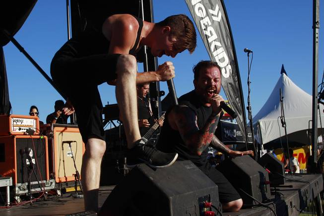 Tyler Smith and Andy Bane perform with Dangerkids during the Las Vegas stop of the Vans Warped Tour Thursday, June 19, 2014.