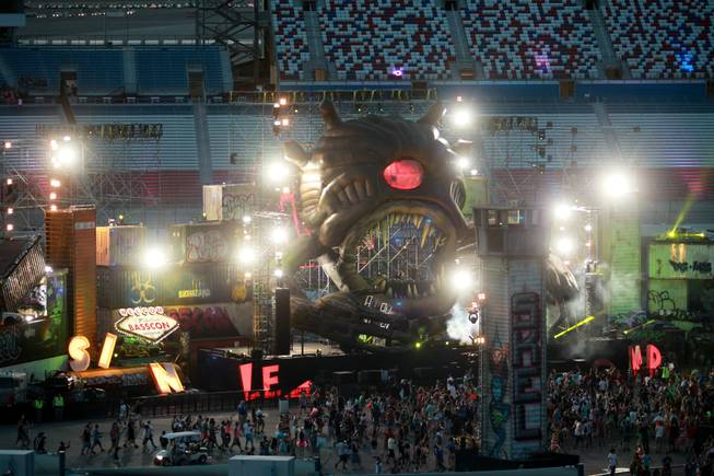 The Bass Con stage lights up during the first night of the Electric Daisy Carnival Friday, June 20, 2014 at the Las Vegas Motor Speedway.