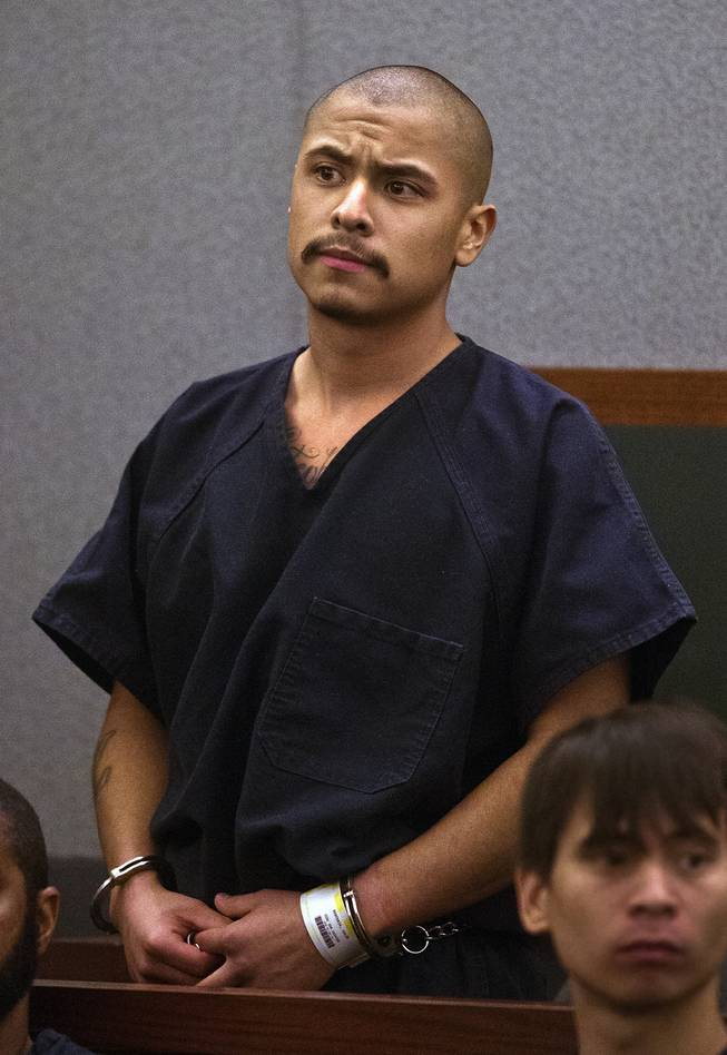 Julio Renteria stands before the judge during his preliminary hearing at the Justice Center with Adrian McClintock on Friday, June 20, 2014. The two are suspects in a Boulder Highway carjacking gone awry that ended in Dylan Joshua Salazar's fatal shooting.