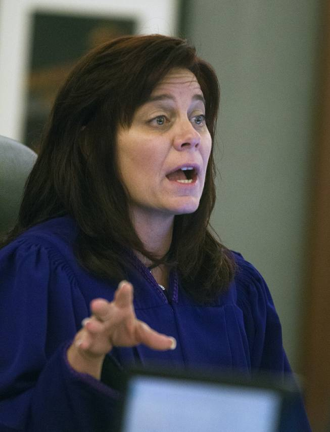 Judge Diana Sullivan presides over the preliminary hearing at the Justice Center with Adrian McClintock on Friday, June 20, 2014. The two are suspects in a Boulder Highway carjacking gone awry that ended in Dylan Joshua Salazar's fatal shooting.