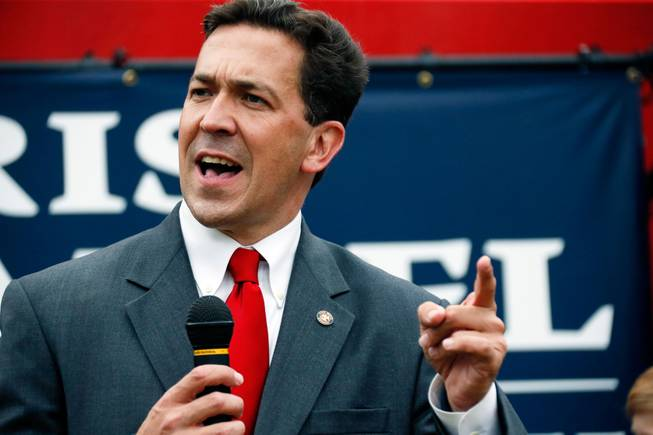 State Sen. Chris McDaniel speaks at a rally in Madison, Miss., on Thursday, June 19, 2014. McDaniel is in a runoff against longtime U.S. Sen. Thad Cochran for the GOP nomination for Senate.