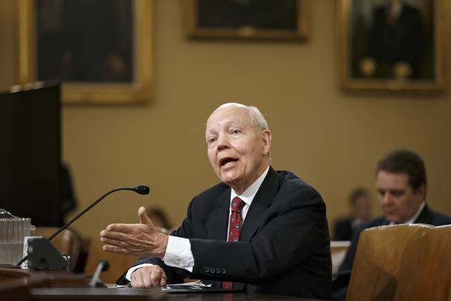 Internal Revenue Service Commissioner John Koskinen testifies on Capitol Hill in Washington, Friday, June 20, 2014, before the House Ways and Means Committee as it continues to probe whether tea party groups were improperly targeted for increased scrutiny by the IRS.