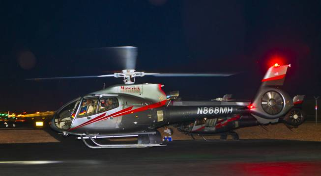 CEO of Insomniac and EDC founder Pasquale Rotella departs from Maverick Helicopters with friends on his way to opening night of EDC at the Las Vegas Motor Speedway on Friday, June 20, 2014.