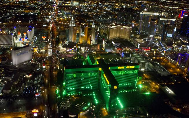 A view of the Strip from a Maverick Helicopter on Friday, June 20, 2014, on the way to opening night of the Electric Daisy Carnival at Las Vegas Motor Speedway.
