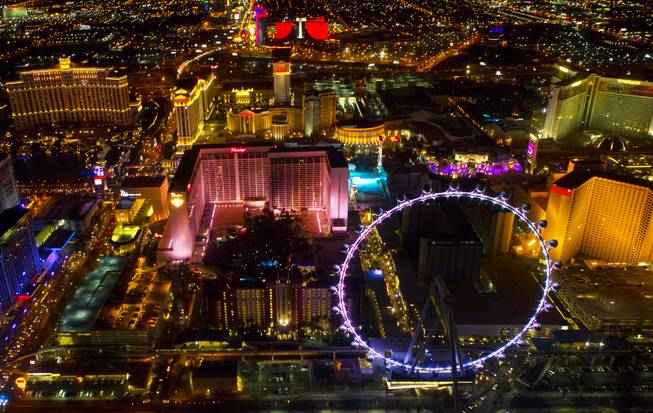 A view of the High Roller at the Linq from a Maverick Helicopter on the way to opening night of the Electric Daisy Carnival on Friday, June 20, 2014, at Las Vegas Motor Speedway.