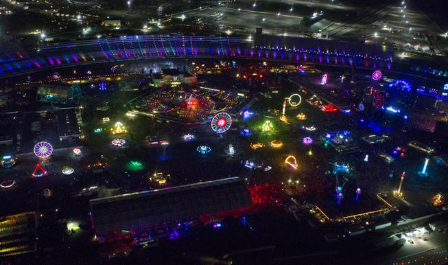 View from a Maverick Helicopter of opening night of EDC at the Las Vegas Motor Speedway on Friday, June 20, 2014.