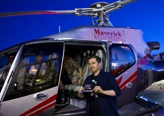 CEO of Insomniac Pasquale Rotella is also the founder of EDC and at Maverick Helicopters on his way to opening night of EDC at the Las Vegas Motor Speedway on Friday, June 20, 2014.