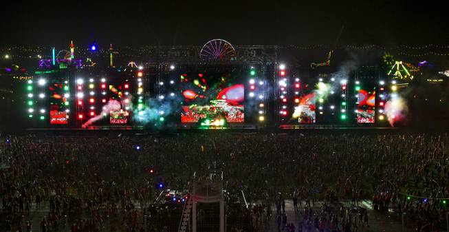 Thousands of attendees pack about the cosmic MEADOW stage on opening night of EDC at the Las Vegas Motor Speedway on Friday, June 20, 2014.
