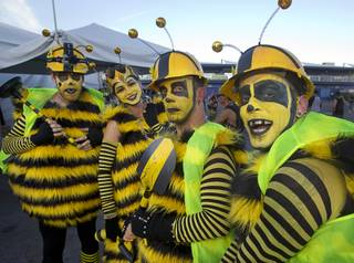 Performers, a queen bee and worker bees, pose during the final day of the 2014 Electric Daisy Carnival (EDC) at the Las Vegas Motor Speedway Sunday, June 22, 2014.