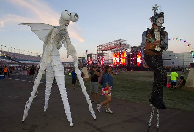 Performers are shown during the final day of the 2014 Electric Daisy Carnival (EDC) at the Las Vegas Motor Speedway Sunday, June 22, 2014.