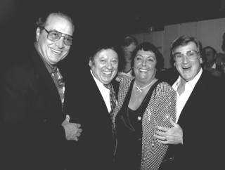 Steve Rossi, Marty Allen, Keely Smith and Shecky Greene on May 2, 1994, at the Sands Hotel in Las Vegas.