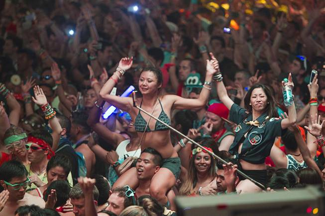 Fans pack the circuitGROUNDS as Calvin Harris performs during the final night of the 2014 Electric Daisy Carnival (EDC) at the Las Vegas Motor Speedway Sunday, June 22, 2014.