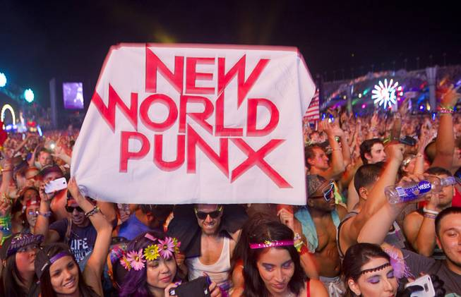 Fans show their support for New World Punx during the final night of the 2014 Electric Daisy Carnival (EDC) at the Las Vegas Motor Speedway Sunday, June 22, 2014.