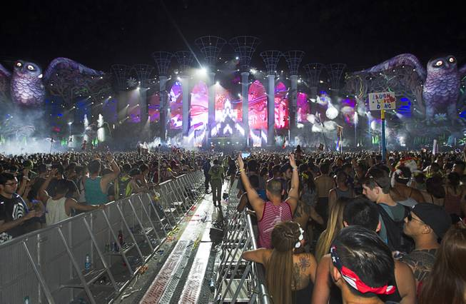 The audience react to music by New World Punx during the final night of the 2014 Electric Daisy Carnival (EDC) at the Las Vegas Motor Speedway Sunday, June 22, 2014.