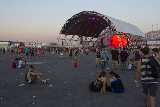 As the sun rises, the final night of the 2014 Electric Daisy Carnival (EDC) comes to a close at the Las Vegas Motor Speedway Sunday, June 22, 2014.