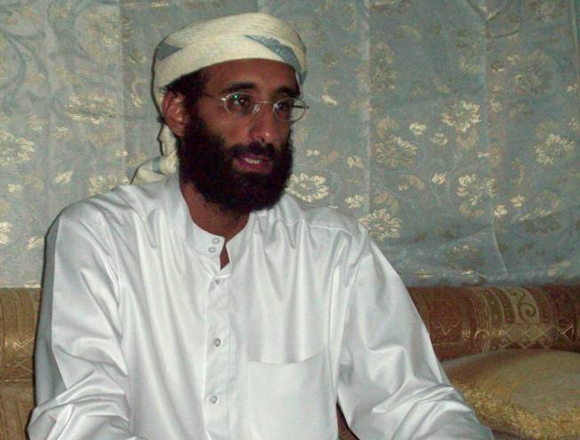 This October 2008 file photo shows Imam Anwar al-Awlaki in Yemen. A federal appeals court on Monday, June 23, 2014, released a previously secret memo that provided legal justification for using drones to kill Americans suspected of terrorism overseas. The memo pertained specifically to the September 2011 drone-strike killing in Yemen of Anwar Al-Awlaki, an al-Qaida leader who had been born in the United States.