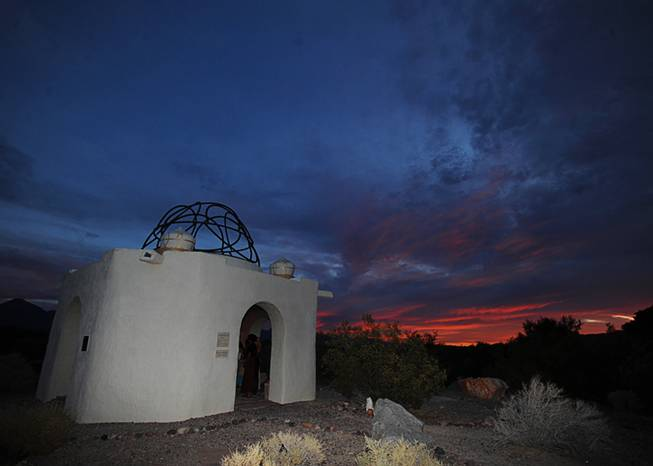 "The ""Temple of Goddess Spirituality dedicated to Sekhmet"" is pictured at sunset on June 21, 2014, in the desert near Indian Springs, during the summer solstice, a day celebrated in Wiccan tradition by a ""Litha"" ceremony, honoring the longest day of the year."