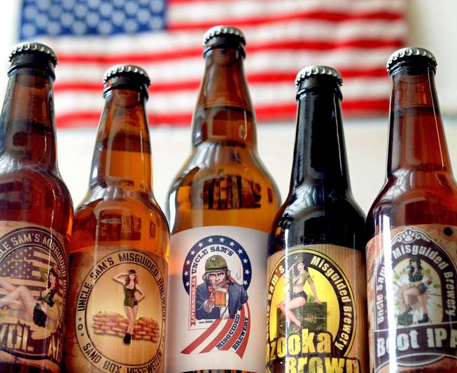 Bottles of beer available at Uncle Sam's Misguided  Brewery are photographed in Livermore, Calif., on Friday, May 30, 2014. With names like AWOL Pale Ale, Boot IPA and Bazooka Brown, it's clear Uncle Sam's Misguided Brewery is a twist on an age-old craft. The veteran-owned and operated microbrewery is not only employing veterans, but it's also putting a portion of its profits into developing nontraditional rehabilitation programs like yoga, wilderness adventures, equine therapy and transformational sailing.
