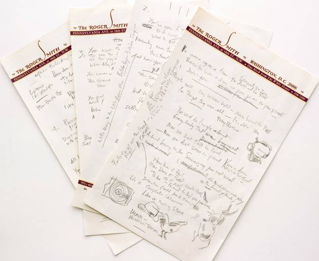 "This undated file photo provided by Sotheby's shows a working draft of Bob Dylan's ""Like a Rolling Stone,"" one of the most popular songs of all time."