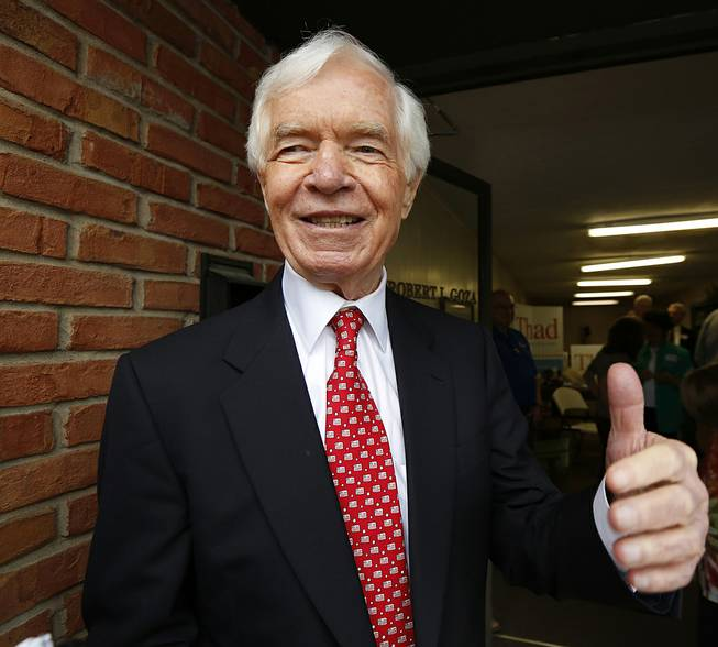 U.S. Sen. Thad Cochran, R-Miss., greets supporters and volunteers at his Canton, Miss., headquarters, Tuesday, June 24, 2014. Cochran is in the Republican primary runoff election against state Sen. Chris McDaniel on Tuesday.