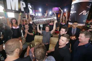 Members of the Los Angeles Kings celebrate their second Stanley Cup title in three years Thursday, June 19, 2014, at XS in Encore.