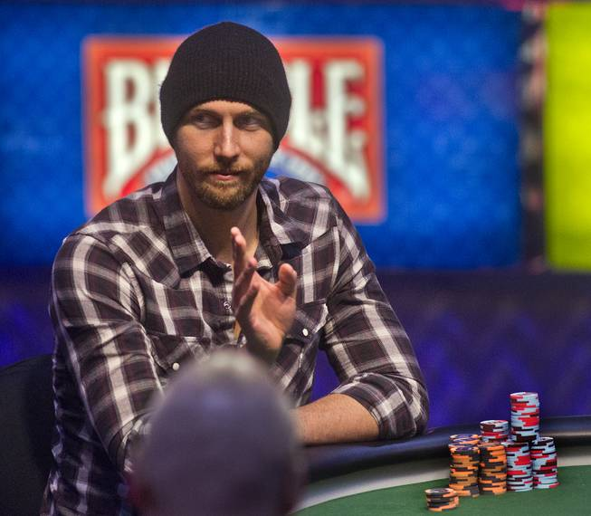WSOP player Brandon Shack-Harris waves to a friend during the Poker Players Championship final table of professional poker players at the Rio on Thursday, June 26, 2014.